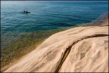 Kayakers along Miners Beach, Pictured Rocks National Lakeshore, Michigan