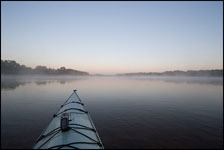Mist over the Wisconsin River near Portage by kayak
