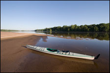 Kayak on sand bar on the Wisconsin River near Portage