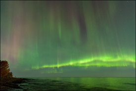 Northern lights over Lake Superior, Upper Michigan
