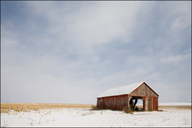 Barn in snow, Central Wisconsin