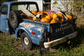 Door County old Chevy with pumpkins
