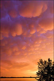 Mamatus clouds at sunset, Oshkosh, Wisconsin