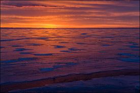 Winter sunrise, Lake Winnebago, Oshkosh, Wisconsin