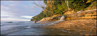Pictured Rocks National Lakeshore Waterfall in Fall near Miner's Beach, Michigan