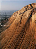 Wavy sandstone near Miners Beach on Lake Superior, Pictured Rocks National Lakeshore, Michigan